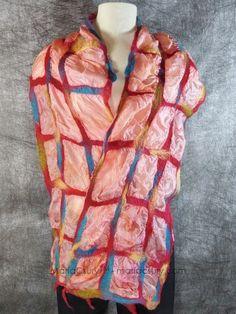 Handmade_silk_wool_felted_orange_scarf