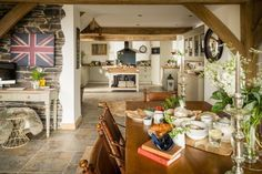 Huckleberry luxury self-catering holiday barn in Dulverton, Exmoor. Ranch inspired ultra-luxe rustic interiors, log burner and suspended decking Dining Area, Kitchen Dining, Dining Room, Somerset, Huckleberry, Open Plan Kitchen, My House, Catering, Cottage