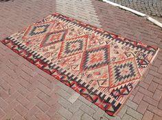 PASTEL Vintage Turkish kilim rug, area rug, kilim rug, kelim rug, vintage rug, bohemian rug, Turkish rug, rug, tribal rug, by PocoVintage on Etsy https://www.etsy.com/listing/387145818/pastel-vintage-turkish-kilim-rug-area