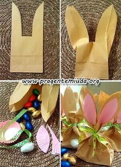 Easter bunny gift bags with free printable tags easter bunny bunnies door goodies with paper packages negle Images