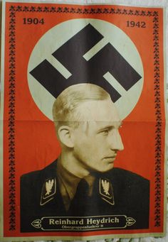 WWII German  Head of Gestapo Reinhard Heydrich post