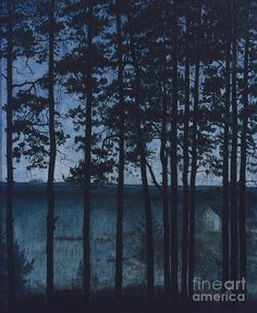 Harald Sohlberg Painting - A House By The Coast by Harald Sohlberg