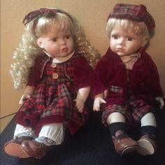 porcelain dolls Twin porcelain dolls Accessories