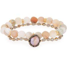 Panacea Druzy & Crystal Stretch Bracelets ($42) ❤ liked on Polyvore featuring jewelry, bracelets, grey, druzy jewelry, crystal jewellery, beaded bangles, iridescent jewelry and crystal bead jewelry