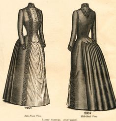 A few years ago, I bought a book that the photos of dresses on the cover really caught my eye. It was during the late bustle period start. Photos Of Dresses, Day Dresses, 1880s Fashion, Victorian Fashion, Victorian Costume, Victorian Dresses, Edwardian Dress, Bustle Dress, Period Outfit