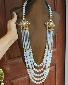 White Opal Crystal Beads Statement Necklace www.fariasiddiqui.com