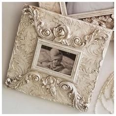 Michelle Butler Designs Rose Damask Bridal Heirloom Frame x Cute Picture Frames, Picture Frame Crafts, Orchard Design, Photo Frame Design, Vintage Photo Frames, Iron Orchid Designs, Shabby Chic Frames, Paperclay, Hand Painted Signs