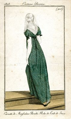 "Dress of ""toile de jouy,"" i.e. printed cotton, tho not what we call Toile (the single color copperplate scenic prints)--Jouy was location of several cotton printing businesses. 1808 Costume Parisien 905"
