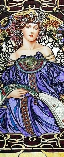 Figure painted by Jim Berberich , stained glass created by Bogenrief Studios…