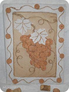 Картина панно рисунок Аппликация Панно из винных пробок Ткань Шпагат фото 1