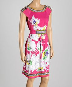 Love this Pink & Purple Floral Sleeveless Dress - Women by Radzoli on #zulily! #zulilyfinds