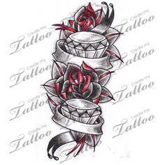 Marketplace Tattoo Roses & Diamonds Tattoo with Banners #6938 | CreateMyTattoo.com