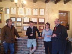 Mark BIlton, owner of Bilton Wines, with his winemakers Rudi de Wet and Elizma van der Mescht, with guest Emile Joubert (left)