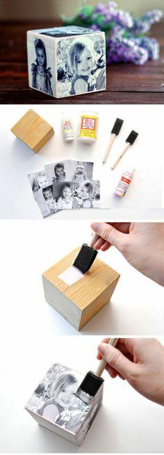 ein Würfel mit schwarz weißen Fotos von kleinen Mädchen Geschenk für Muttertag