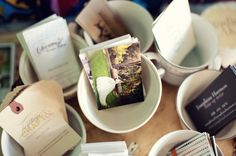 business cards in teacups , think of creative ways to advertise your business