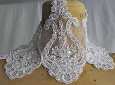 White Lace Organza Trim with faux pearls and by CreationsbyLSM, $8.58