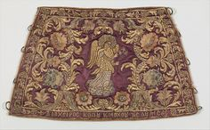 Liturgical cuff (Epimanikion), Silk, metal thread, and metal wire embroidery on a foundation of silk satin, Greek