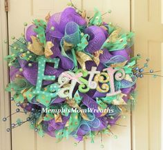 Easter Deco Mesh Wreath  Deco Mesh Wreath  by MemphisMomWreaths