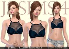 Illusion Neck Bikini at JS Sims 4 - I want to make a bra that looks like this! :P