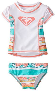 Roxy Baby-Girls Infant See You Soon Rash Guard Set, Sea Salt, 18-24 Months  AwesomeFishingClothing.com