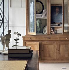 Love this office space French Oak, Oak Cabinets, Great Rooms, Decorative Items, Interior Decorating, Entryway, Shelves, House, Furniture