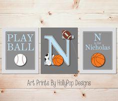 Boy Nursery Prints Baby Boy Bedroom Decor Toddler Boys Room Wall Art Sports Art Prints Play Ball Wall Art Basketball Decor Kids Room #1117