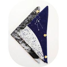 Navy Black or Grey Full Moon Bandana hand printed by alittlelark