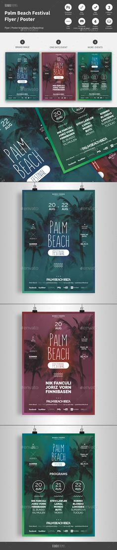 Awesome Palm Beach Summer Festival Flyer / Poster PSD Template • Only available here ➝ http://graphicriver.net/item/palm-beach-summer-festival-flyer-poster/16347660?ref=pxcr