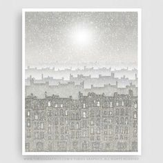 WALKING WITH ANGELS - Paris Illustration - Fine Art Giclee Print signed by the artist. Available in numerous sizes. Great for decorating a home or office. Complete your Paris décor with this beautiful Parisian Art Print!