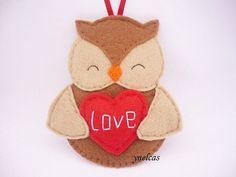 Felt Owl Canada Christmas Ornament  Canada Flag Owl  Canadian