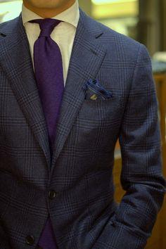 Old HK tailor cutaway collar shirt  Drake's Blue Cashmere Glencheck Blazer  Drake's Wool Silk Herringbone Purple Tie