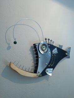 Fish Wall Decor, Fish Wall Art, Fish Art, Wood Fish, Metal Fish, Seaside Art, Beach Art, Fish Sculpture, Angler Fish