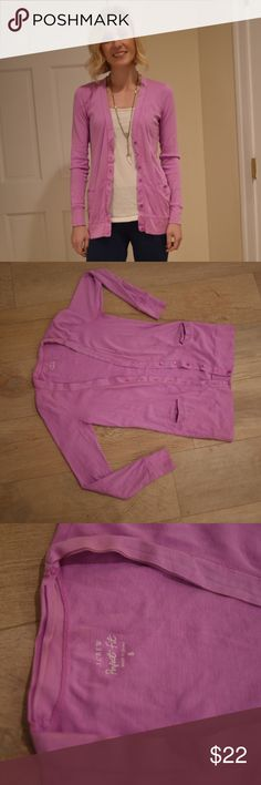 J.Crew perfect fit cardigan Perfect fit cardigan in orchid. T-shirt material great for spring! J. Crew Sweaters Cardigans