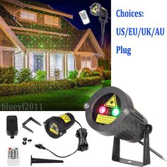 Christmas Star Laser Light Red & Green Outdoor Party Show Garden Us/Eu/Au/Uk