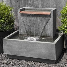 The Falling Water Fountain II is long x wide x tall. Water recirculates within the fountain. Water Wall Fountain, Backyard Water Fountains, Outdoor Wall Fountains, Concrete Fountains, Garden Fountains, Fountain Lights, Poured Concrete, Indoor Water Features, Water Features In The Garden