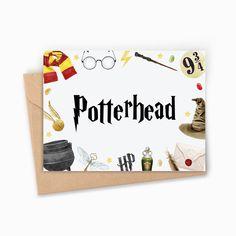 """Carte Harry Potter """"Potterhead"""". Cadeau unique et original pour Potterhead, fan de l'univers du sorcier"""