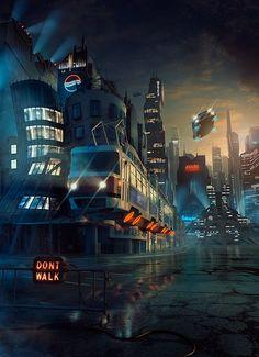 TECHNICALL - magazine cover by Tomas Muller, cyberpunk, future city, retro-futuristic, sci-fi art: