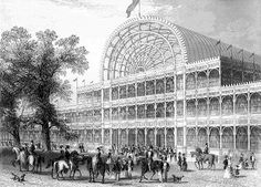 From my free pack of Industrial Revolution images: The Crystal Palace in Hyde Park, London that housed the Great Exhibition of the first World's Fair. Source: From Tallis' History and Criticism of the Crystal Palace, 1852 / University of Houston