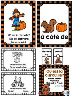 Autumn or Fall themed French activities to practice prepositions! Includes emergent reader, posters, puzzles and other activities! French Teaching Resources, Teaching French, Teaching Ideas, Autumn Activities, Writing Activities, Educational Activities, French Prepositions, Thanksgiving Poems, Grade 1 Reading