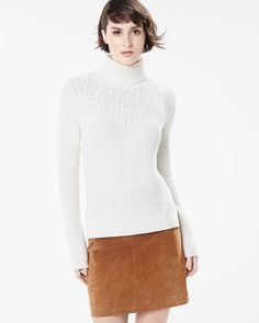 RW&CO. | Stockholm's Way | Fall 2015 | Ribbed turtleneck sweater & Genuine suede short skirt