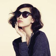 #KikoMizuhara #Japanese #model #sunglasses #wavy #bob