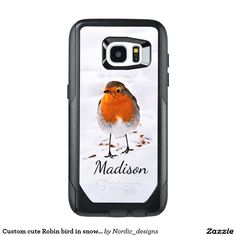 Custom cute Robin bird in snow add name OtterBox Samsung Galaxy S7 Edge Case #gifts #her #him #Nordic #Winter #snow #best #unique #cool #nature #Wildlife #white #zazzle
