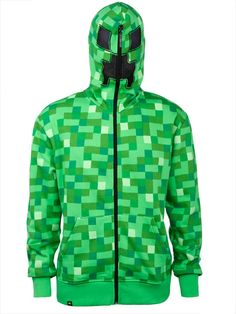 Don't fear the Creeper! From the popular video game, Minecraft comes this adult sized zip-up hoodie. Zip it all the way up to the top of the hood to reveal Creeper face! A must-have for Minecraft fans! Lego Minecraft, Minecraft Costumes, Minecraft Party, Minecraft Stuff, Minecraft Clothes, Minecraft Crafts, Minecraft Houses, Boys Hoodies, Hooded Sweatshirts