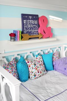 adore the pbteen bedding in this girls room