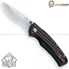 """PUMA TEC Folding Knife 307711, edc pocket folding knives with AISI 420 stainless steel blade of high quality with Bead Blasted finishing - Blade lenght 3.4"""" - Handle made of Black Aluminum with Sandalwood inserts a dark and fragrant tropical wood - Liner Lock system - Back Clip - Overall lenght 7.6"""" - Design by Puma Tec Solingen - PUMA TEC edc pocket folding knife really exceptional with quality materials, technical and excellent design, superior quality in all the components..."""