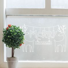 Christmas is the time of dark nights, cold walks, fun and.. reindeers! Make your house christmassy with this Merry christmas window drawing.