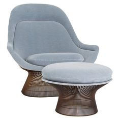 Warren Platner Lounge Chair and Ottoman for Knoll   From a unique collection of antique and modern lounge chairs at https://www.1stdibs.com/furniture/seating/lounge-chairs/