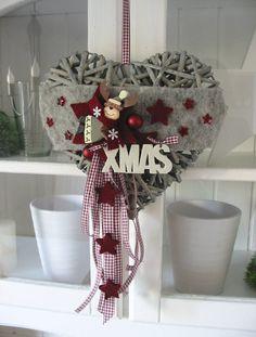 """Weidenherz """"Kleiner Elch"""" Türkranz Weihnachten Weihnachtskranz Dekoherz 25 cm"""