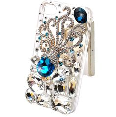 Bright stones Blue Octopus crystal rhinestone cell phone case for apple iphone 5 bling skin. $21.00, via Etsy.