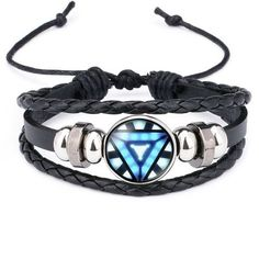 Iron Man Arc Reactor Leather Bracelet
